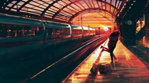 Фото Рисованные Поезда Рассветы и закаты Влюбленные пары 2 Города