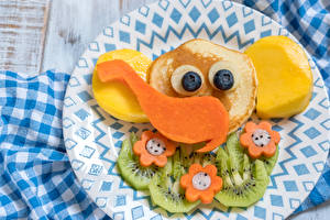 Фотографии Блины Слоны Овощи Фрукты Тарелка Дизайн Продукты питания