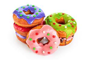 Картинка Выпечка Пончики Сахарная глазурь Белый фон