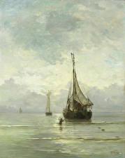 Фотографии Картина Лодки Парусные Hendrik Willem Mesdag, Salm Sea