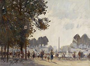 Обои Живопись Edward Seago, Evening, Tuileries Gardens, Paris