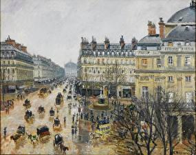 Фото Картина Франция Париж Городская площадь Camille Pissarro, Square of the French Theater. Rain
