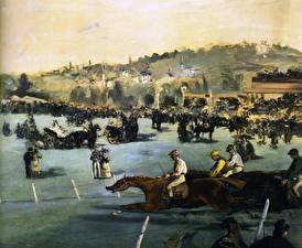 Картинки Живопись Лошади Бег Edouard Manet. Races with the wood of Boulogne
