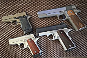 Фотографии Пистолеты Вблизи Kimber Ultra Carry II 45 ACP, Kimber Micro 380, Colt 9 MM, SIG P238 380 Армия