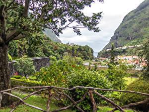 Фотографии Португалия Горы Дома Кусты Madeira Sao Vicente Природа