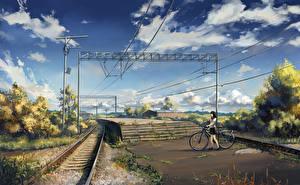 Обои Железные дороги Небо Велосипед Девочки
