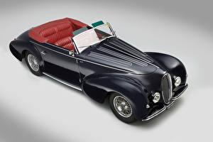 Обои Ретро Черный Кабриолет Сверху Серый фон 1946 Delahaye 135 Cabriolet par Graber Автомобили