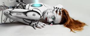 Картинки Робот Волосы Рыжая Девушки