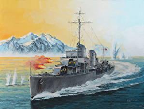 Фотографии Корабль Рисованные Немецкий Выстрелил German Destroyer Type 1936 Армия