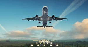Фотография Самолеты Небо Пассажирские Самолеты Летящий Авиация