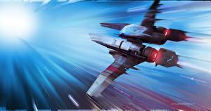 Картинка Звездолёт No Man's Sky Летящий Игры Фэнтези