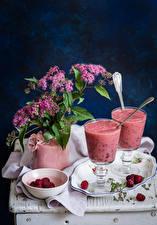 Картинки Натюрморт Коктейль Малина Стакан Тарелка Пища