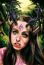 Картинки Сверхъестественные существа Рога Смотрит Лицо Девушки