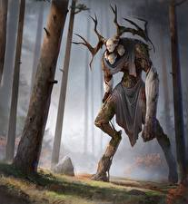 Картинка Сверхъестественные существа Рога Деревья Фантастика