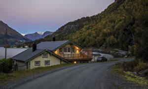 Картинка Швеция Здания Дороги Вечер Леса Города