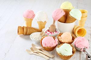 Фотография Сладости Мороженое Шар Ложка Пища