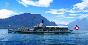Фотографии Швейцария Озеро Речные суда Lake Lucerne Природа