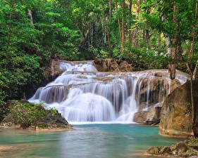Обои Таиланд Водопады Erawan Waterfall Kanchanaburi Природа