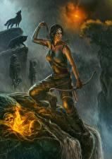 Фото Tomb Raider 2013 Лучники Дождь Волки Лара Крофт Wolf's Lair Девушки