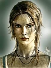 Картинка Tomb Raider 2013 Рисованные Лара Крофт Взгляд Fan ART Лицо Игры Девушки