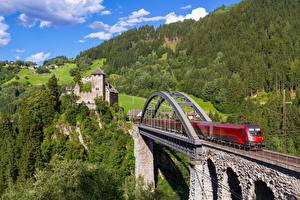 Обои Поезда Мосты Австрия Tyrol, Trisannabrücke, Trisanna Bridge, Wiesberg Castle Природа