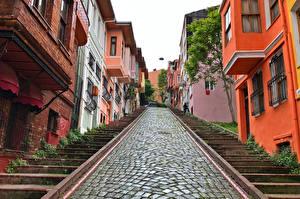 Обои Турция Стамбул Дома Улице Лестницы Города