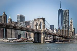 Картинка Штаты Мосты Здания Нью-Йорк Манхэттен Brooklyn