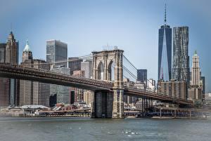 Картинка США Мосты Дома Нью-Йорк Манхэттен Brooklyn город