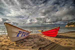 Картинка Америка Побережье Лодки Небо Калифорнии Песка Облака Природа