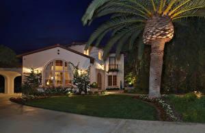 Картинки Штаты Здания Вечер Калифорния Особняк Дизайн Газон Пальмы Уличные фонари San Clemente Города