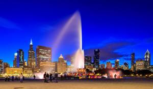 Обои Америка Здания Фонтаны Чикаго город Ночью Buckingham fountain