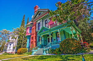 Фото Штаты Здания Старинные Калифорния Дизайн Кусты HDR Heritage Square Museum