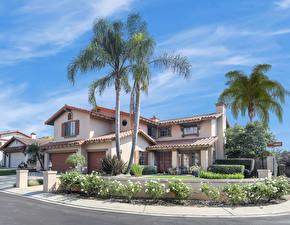 Картинки Штаты Здания Калифорния Особняк Пальмы San Juan Capistrano