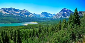 Фото США Парки Гора Озеро Лес Пейзаж Ель Glacier National Park Saint Mary Lake Природа