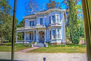 Картинки США Ретро Дома Калифорния Дизайн HDR Heritage Square Museum Города