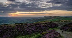Фотографии Великобритания Пейзаж Вечер Небо Луга Холмы Облака North Wales