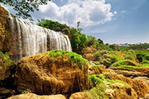 Обои Вьетнам Водопады Парки Камни Природа