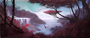 Картинка Водопады No Man's Sky Деревья Игры Фэнтези