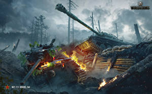 Картинки Танки World of Tanks Огонь Китайские Немецкий WZ-111 model 5A