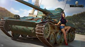 Обои World of Tanks Танк Nikita Bolyakov Французские AMX 13 90 компьютерная игра Девушки