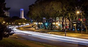 Фотография Аргентина Здания Дороги Улица Ночные Уличные фонари Едущий Rosario Santa Fe Города