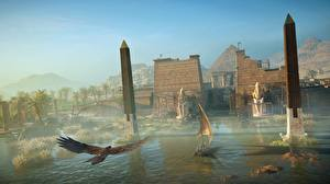Картинки Assassin's Creed Origins Египет Лодки Парусные компьютерная игра 3D_Графика