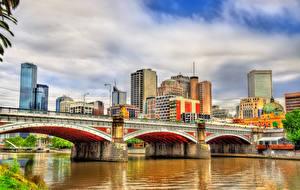 Фото Австралия Мельбурн Здания Речка Мосты