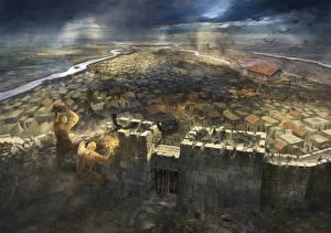 Фото Сражения Гигант Воины Крепость Фантастика Города