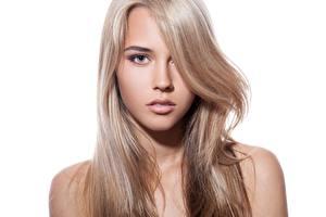 Картинки Красивые Волосы Лицо Смотрит Белый фон Русые Девушки