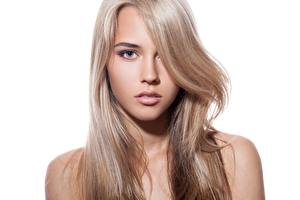 Картинки Красивый Волосы Лицо Смотрит Белом фоне Русые