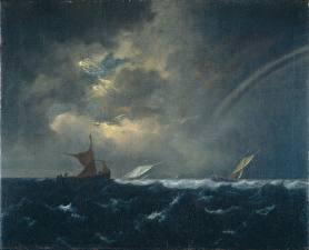Картинки Лодки Парусные Море Картина Jacob van Ruisdael, Ships in Stormy Seas