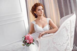 Фотография Букеты Невеста Рыжая Взгляд Сидит Девушки