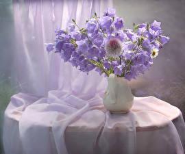 Обои Колокольчики - Цветы Ваза Фиолетовый Стол