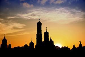 Фотография Церковь Рассвет и закат Силуэты Купол Города
